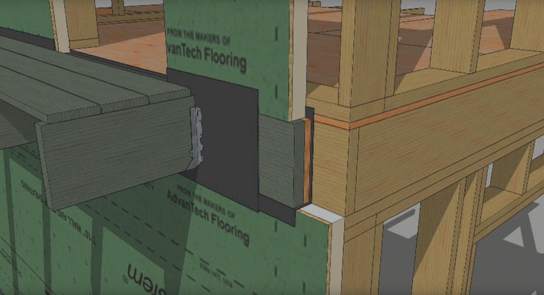 Zip rsheathing woven deck ledger